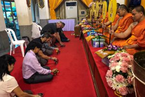 Thailand - Skjodt Family Trip - Monk Blessing Wat Po Bangkok